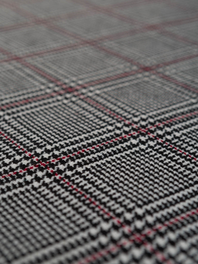 Regal Red & Mono Glen Plaid - Fabworks Online