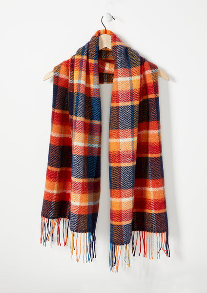 Autumn Maple & Navy - Donegal Lambswool Shawl - Fabworks Online