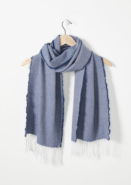 Navy White Twill - Lambswool Scarf (G2d21)