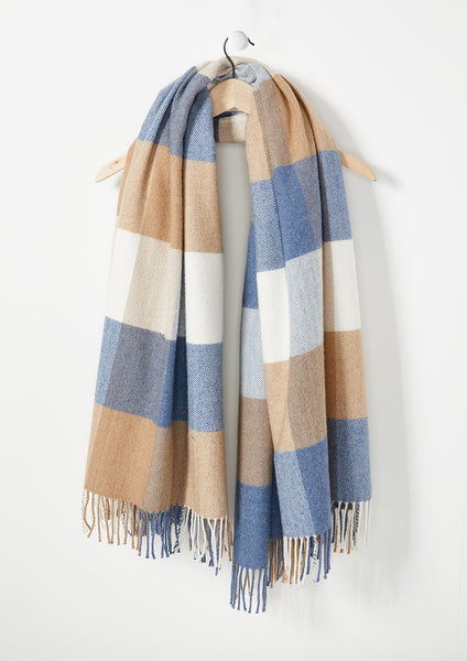 Dusty Blue, Beige & Winter White - Lambswool Throw - Fabworks Online