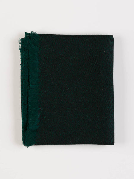 Yorkshire Herringbone Wool Throw - Dark Emerald (G1b23)