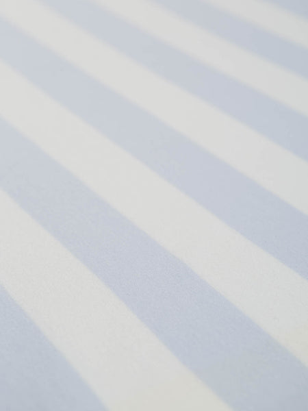 Wide Stripe - Misty Blue and White - Organic Cotton Single Jersey - Fabworks Online
