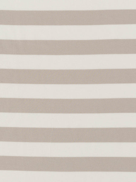 Wide Stripe - Washed Taupe and White - Organic Cotton Single Jersey - Fabworks Online