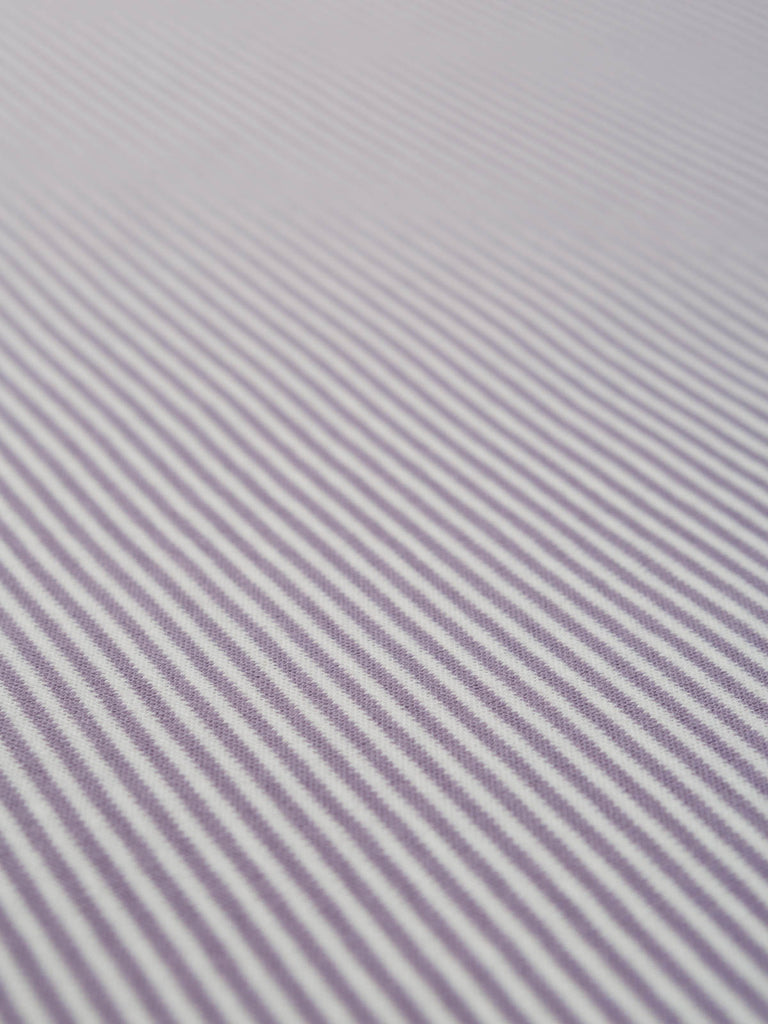 Mini Stripe - Lilac - Organic Cotton Interlock - Fabworks Online