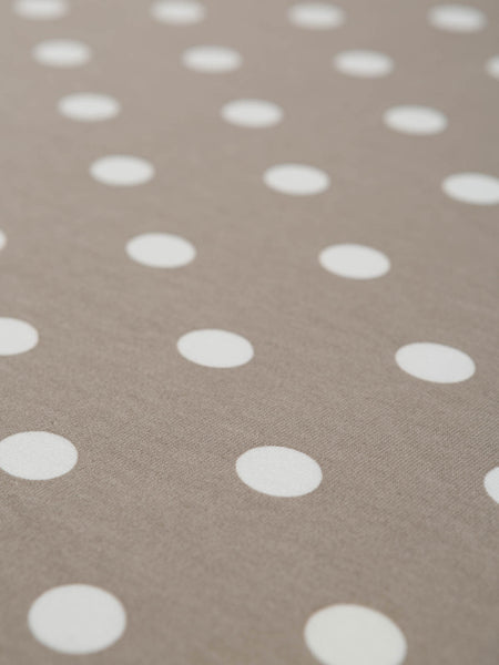 Taupe & White Polka Dot - Organic Cotton Interlock