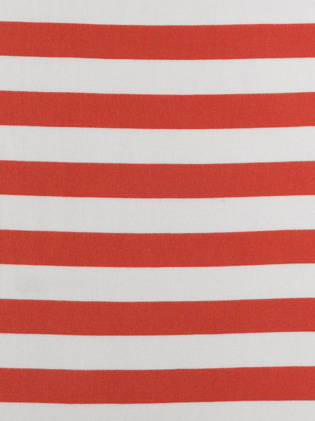 Wide Stripe - Terracotta and White - Organic Cotton Single Jersey - Fabworks Online