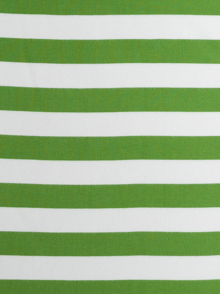 Wide Stripe - Grassy Green and White - Organic Cotton Single Jersey