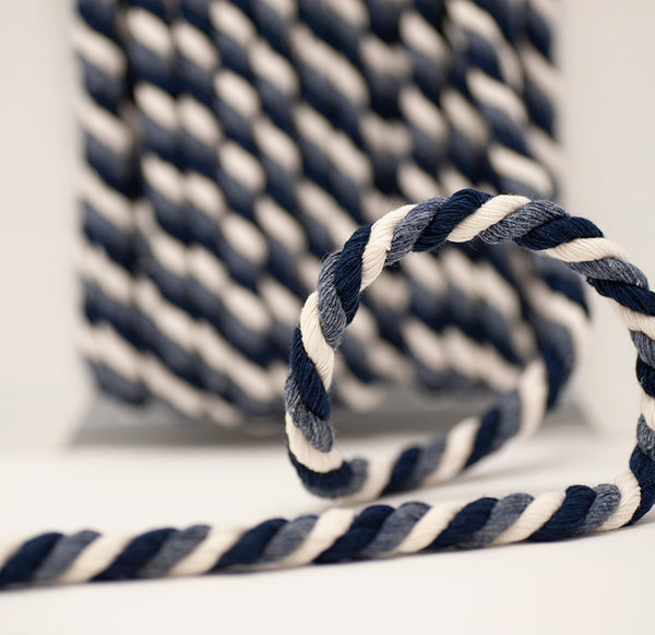 Multi Twisted Cord - Blue / Black / White