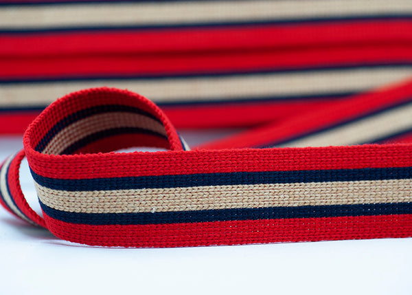 Flat Webbing Stripe - Red / Navy / Ecru