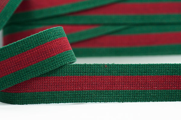 Flat Webbing Stripe - Bottle Green / Burgundy
