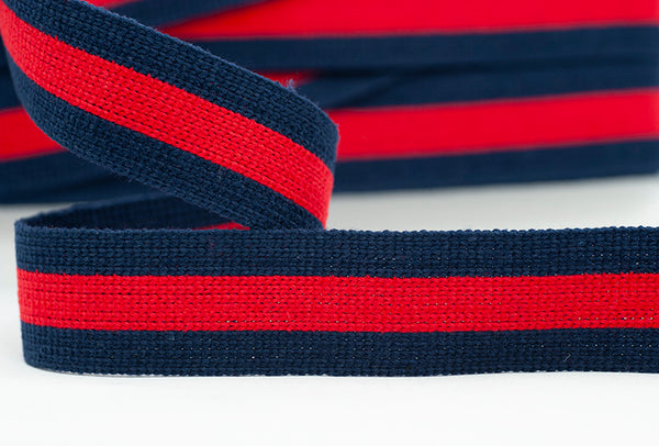 Flat Webbing Stripe - Navy & Red
