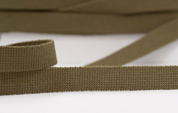 Flat Woven 25mm Braid - Green/Khaki