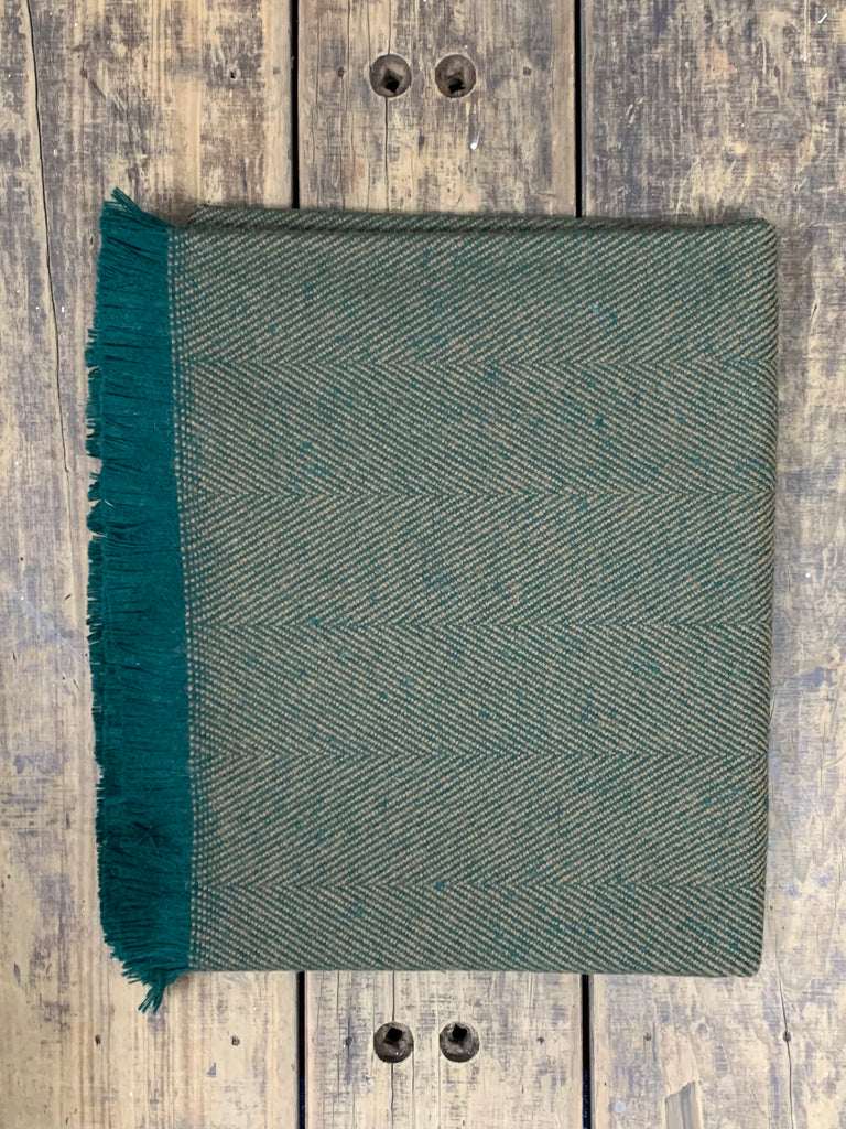 Yorkshire Herringbone Wool Throw - Fernside (G1c17)