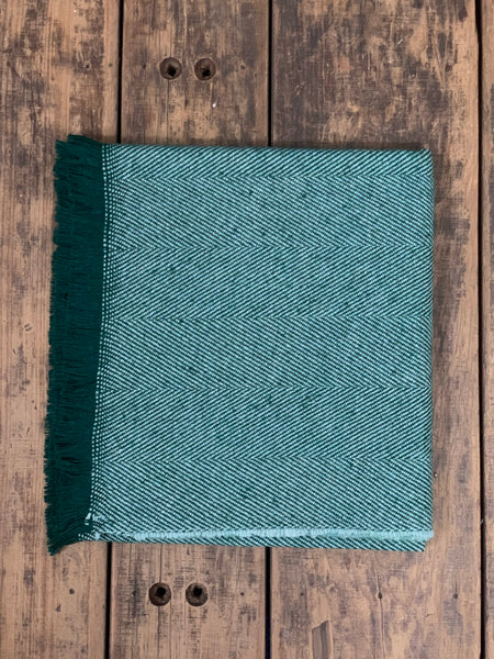 Yorkshire Herringbone Wool Throw - Frosted Evergreen (G1b25)