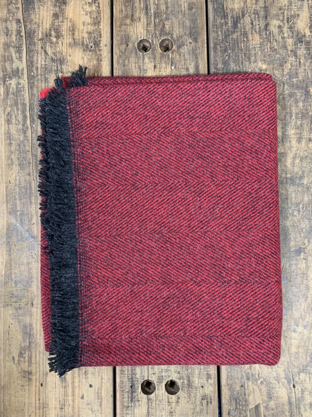 Yorkshire Herringbone Wool Throw - Christmas Cranberry (G1c18)