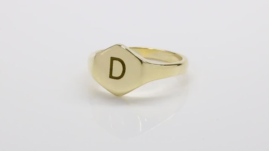 Engraved Initial Hexagon Gold Signet Ring