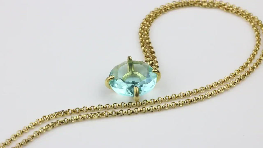 Round Semiprecious Blue Topaz Stone Necklace