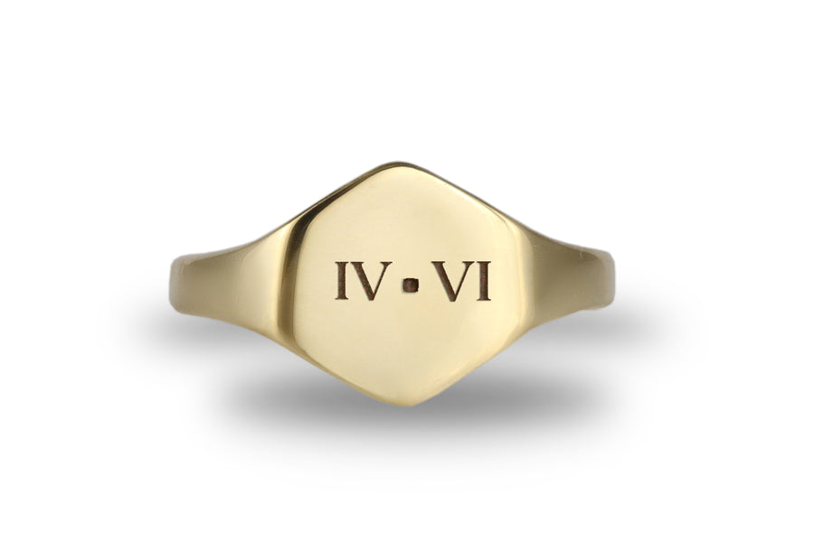 Roman Numeral Engraved Ring for Women