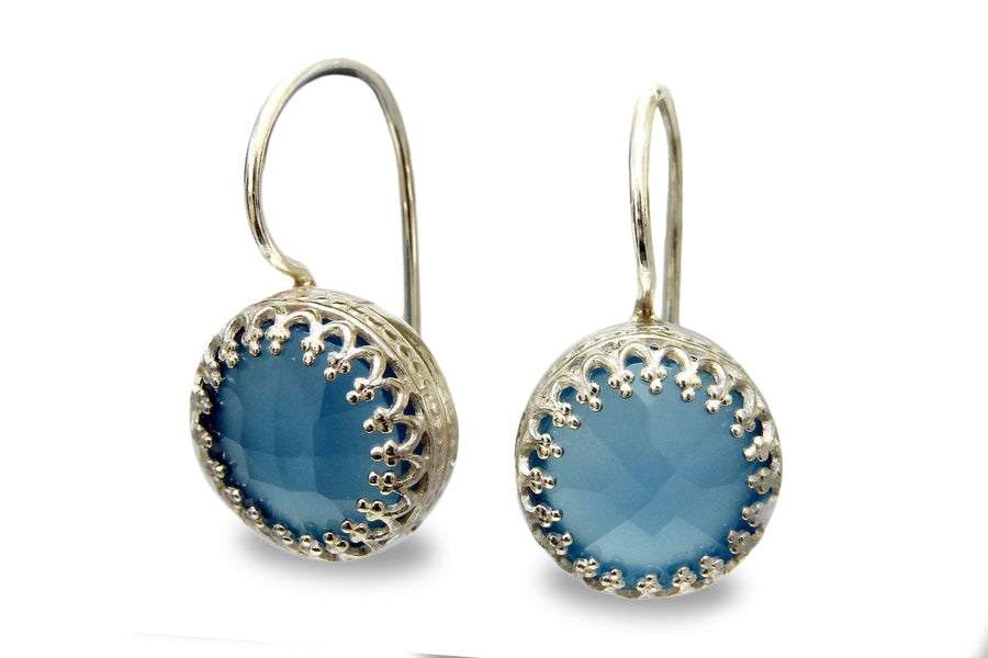 Blue Onyx Jewelry for Women - Blue Dangle Earrings in 925 Sterling - Post Earrings with Blue Onyx Stones - Jewelry for Brides, Moms, Friendships, Sister