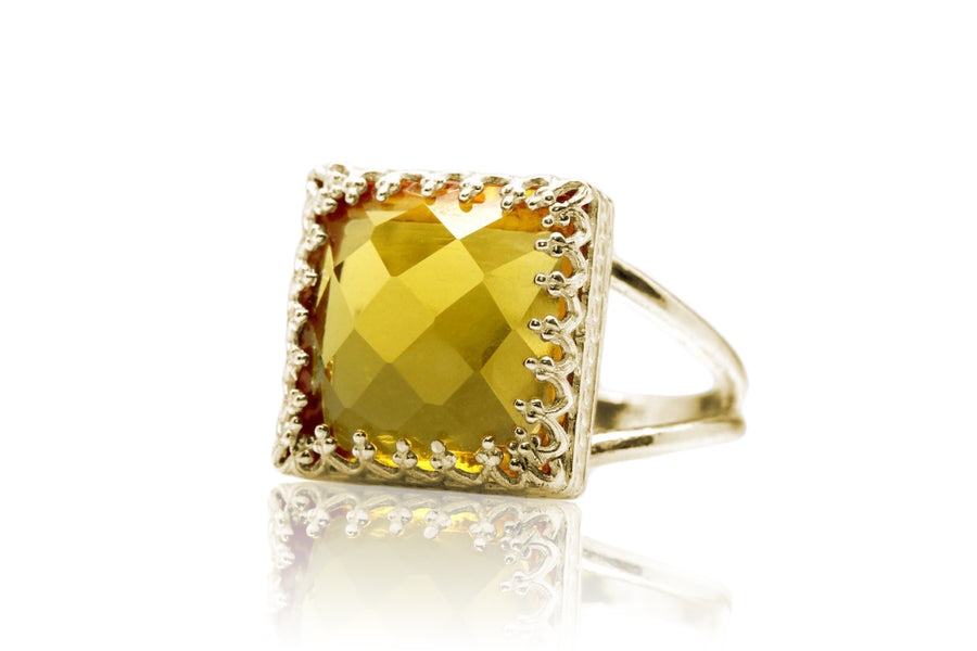 Square Cut Yellow Citrine Ring