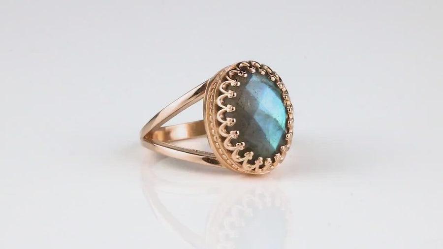 Labradorite Ring with 14k Rose Gold-filled Double Band