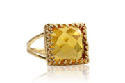 Striking Birthstone Ring - 10CT Citrine Ring in 14K Gold-filled Double Band - Handmade Citrine Jewelry for Women Great for Parties, Birthdays, Engagements
