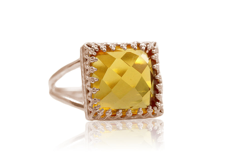 10CT Citrine Ring in 14K Gold-filled Double Band