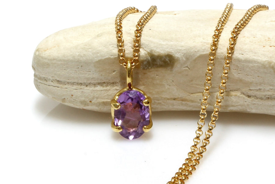 gemstone pendant,Amethyst necklace,purple necklace,stone necklace,vintage necklace,February birthstone necklace