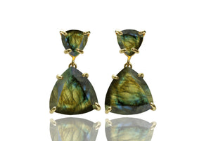 Labradorite earrings,triangle earrings,triangular earrings,gold earrings,statement earrings,gemstone earrings