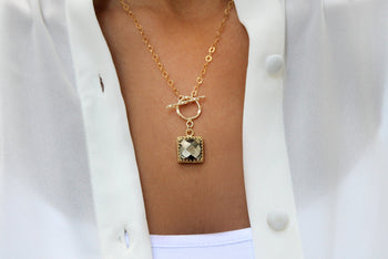 pyrite necklace,toggle clasp necklace,gold necklace,14k gold chain necklace,gemstone necklace,square pendant