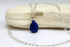 Lapis necklace,teardrop necklace,September birthstone,drop necklace,pear necklace,gemstone necklaces