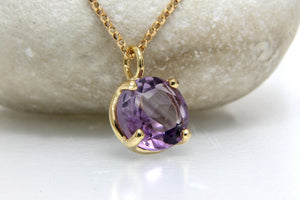Amethyst necklace,prong setting pendant,gold necklace,purple stone necklace,February birthstone