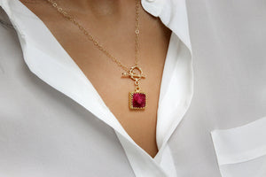 Square ruby pendant,gold necklace,long gold chain necklace,gemstone necklace,July birthstone necklace