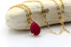 gold ruby necklace,July birthstone pendant,gemstone necklace,teardrop pendant,bridal necklace,bridesmaid gifts