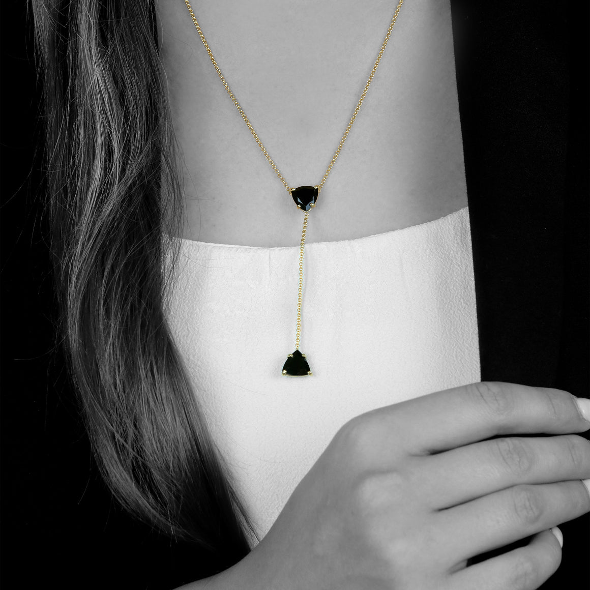 Black onyx necklace,drop necklaces,lariat necklaces,Y necklaces,gold necklace,gemstone necklace