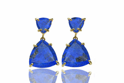 Gold lapis earrings,Lapis lazuli earrings,gold earrings,solid gold earrings,triangle earrings,gemstone earrings
