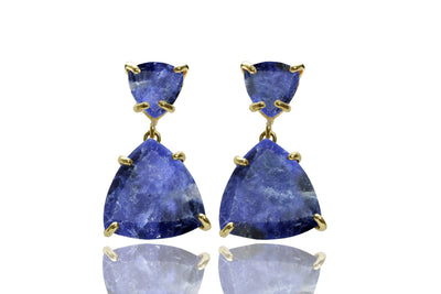Sodalite earrings,triangle earrings,gold earrings,dangle earrings,trillion earrings,14k gold earrings,Gemstone earrings