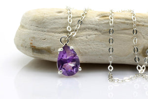 Amethyst necklace,silver amethyst pendant,February birthstone necklace,teardrop necklace,sterling silver chain