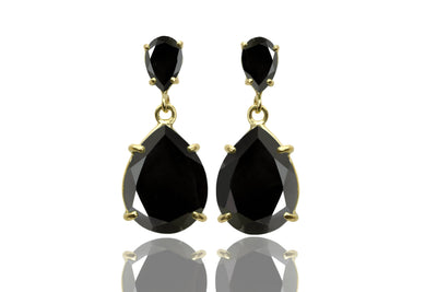 Black onyx earrings,gold earrings,long earrings,gold dangle earrings,teardrop earrings,prong setting earrings