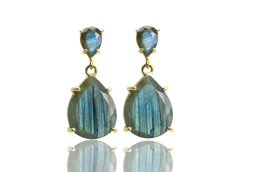 Labradorite earrings,dangle earrings,teardrop earrings,statement earrings,gold earrings,prong earrings,gemstone earrings