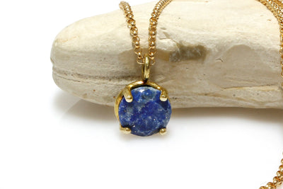 navy blue lapis necklace,lapis lazuli necklace,September birthstone necklace,lucky pendant,charm necklace,gold necklace