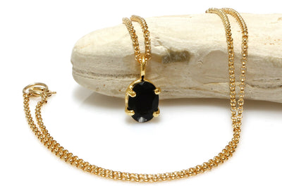 Black onyx necklace,prong pendant,gold pendant necklace,solid gold necklace,gold filled necklace,oval pendant