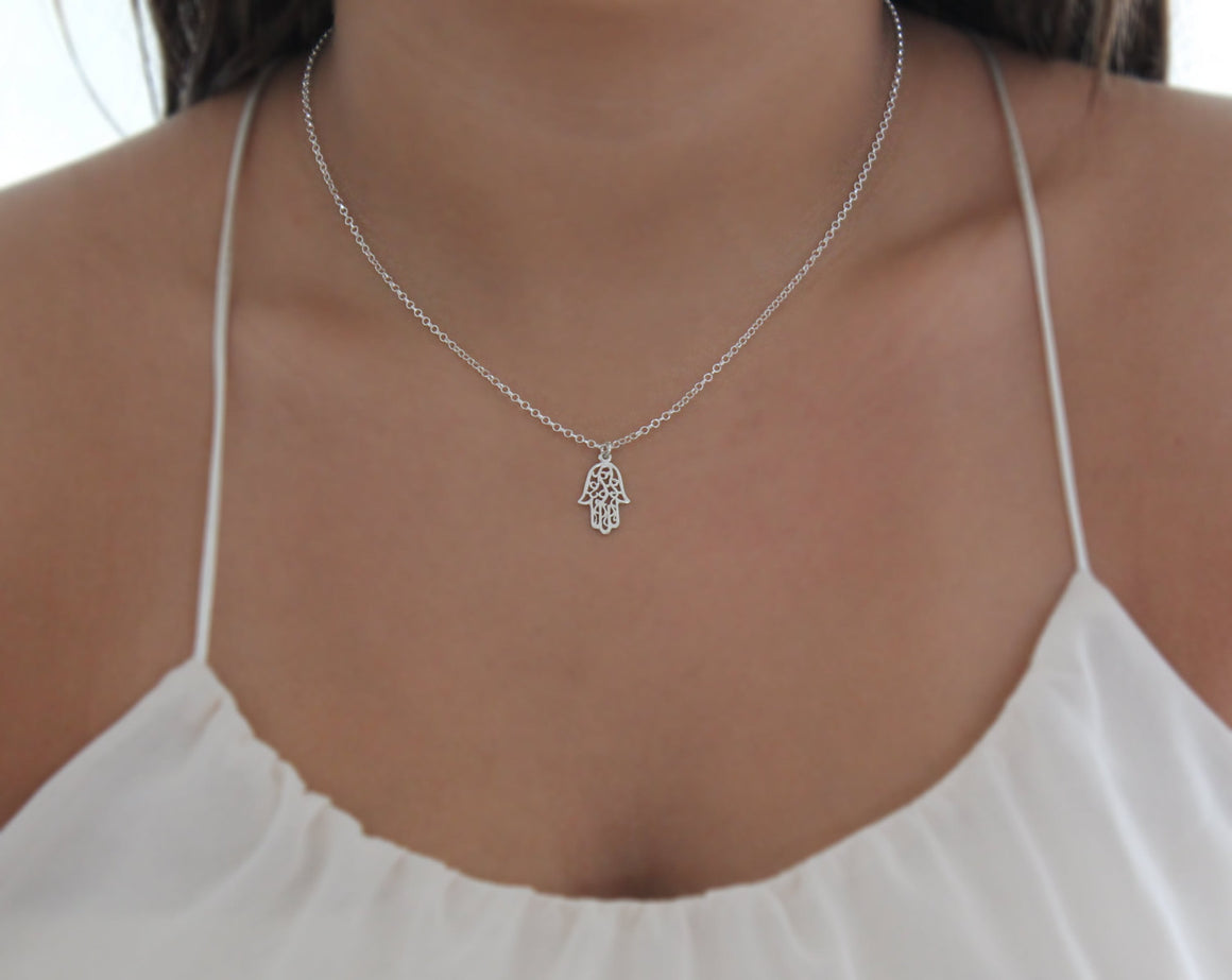 silver hamsa necklace,hamsa jewelry,good luck charm,charm necklace,lucky necklace,delicate necklace