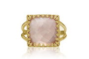 Sophisticated Rose Quartz Ring - 14K Rose Gold-filled Double Band - Pink Ring Handcrafted by Skilled Jewelers - Wedding, Birthday, Anniversary, Prom Jewelry