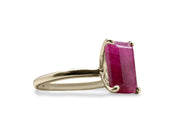 14K Gold Ring - Natural 4-Prong Rectangle Ruby Ring for Everyday Use - Making Statement with Birthstone Rings - Handmade