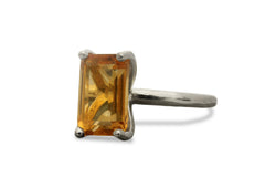 Custom Rings - Citrine Ring in 14k Gold-filled Setting - Personalize with Engraving - November Birthstone Jewelry for Gifts and Personal Wear
