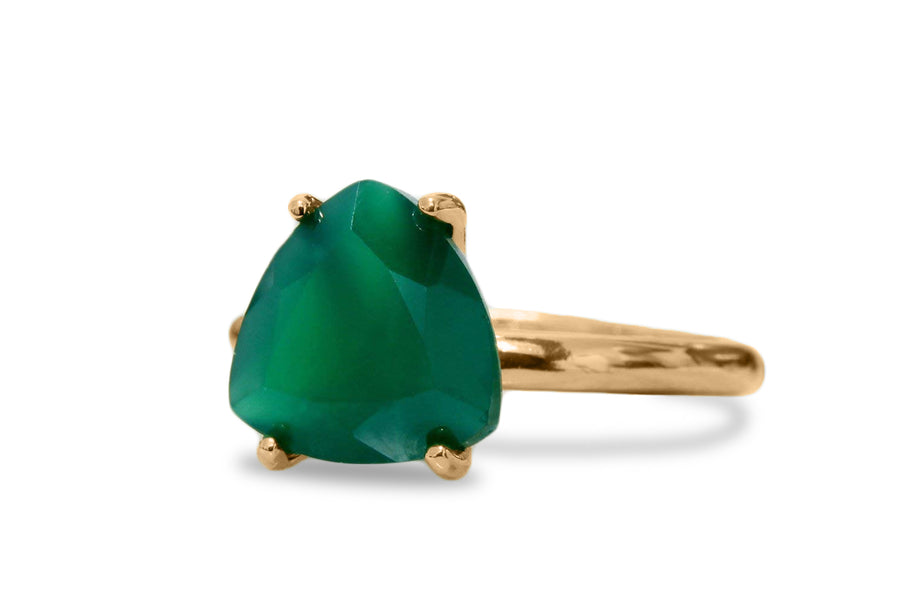 Gold Ring - Beautiful 10mm Green Onyx Ring for Special Occasions and Casual Wear - Handmade Jewelry