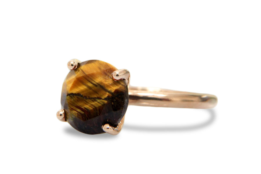 Brown Cocktail Rings - Round Tiger Eye Ring in 14k Gold - Artisan Jewelry Ring for Her