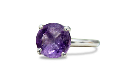 February Birthstone Ring - Amethyst Ring in 925 Sterling Silver - Handmade Ladies Ring