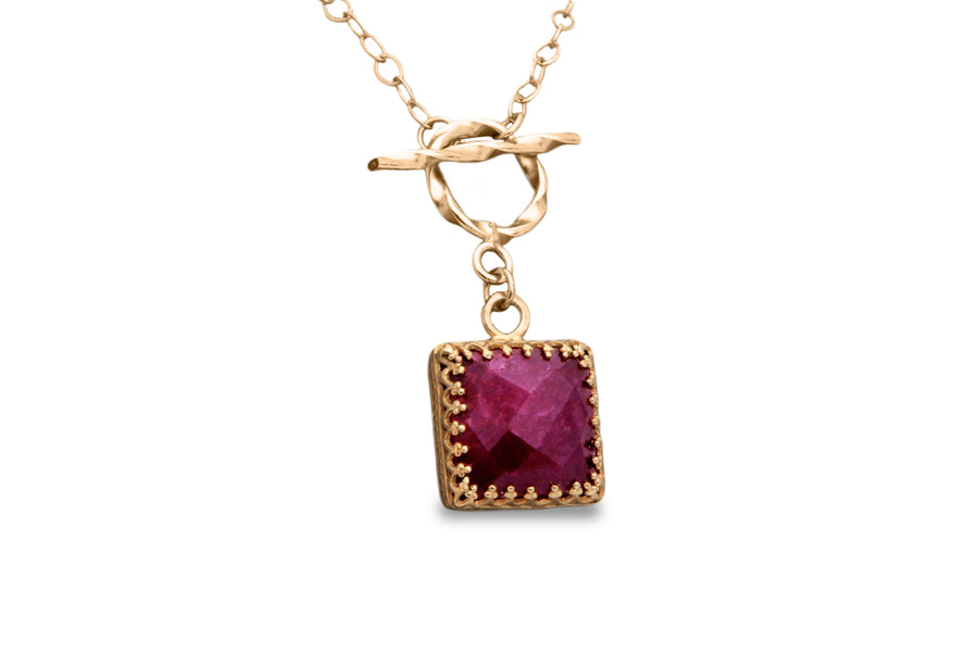 14K Gold Necklace - 18 inches or 45 Centimeters Ruby Gemstone Necklace Plus Other Lengths - Long-Lasting Beauty for Daily Casual Use and Special Occasions